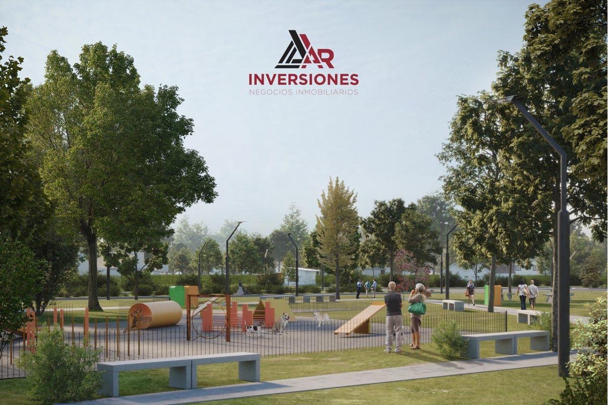 venta en ecotierra. pueblo esther. terrenos financiados en pesos. lote de 300 m2 sobre avenida. habilitacion comercial.  ideal inversion.