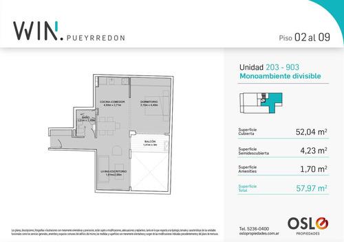 venta increíble2 ambientes de 58m2. a estrenar. apto profesional