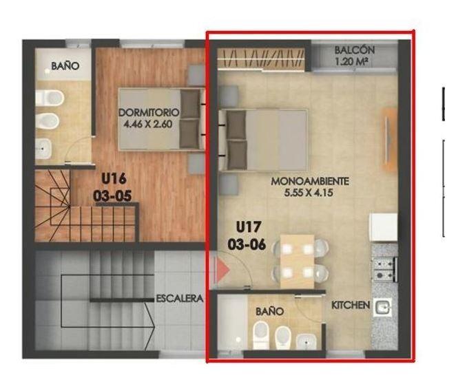 venta loft con balcon y terraza exclusiva