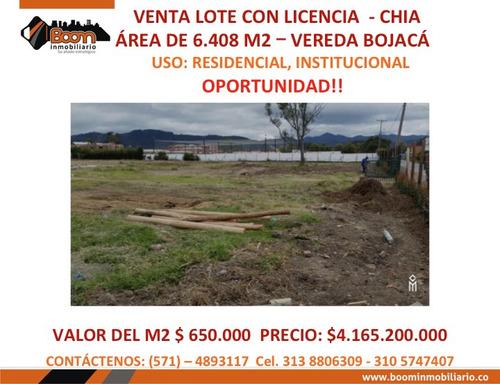 *venta lote 6.408 m2 con licencia chia ganga!