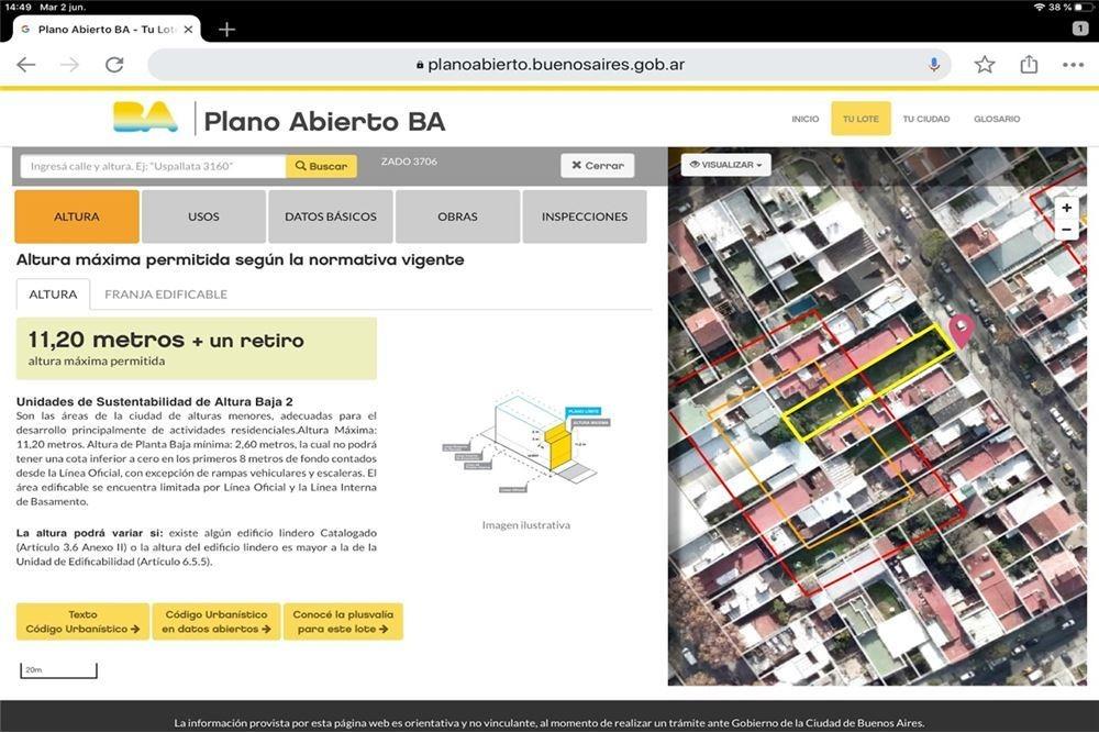 venta lote 8,66 x 47,46 m  villa urquiza