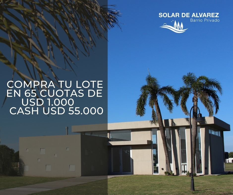 venta lote anticipo+cuotas barrio privado solar de alvarez