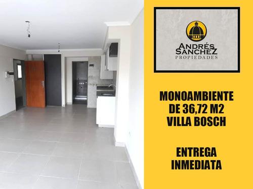 venta monoambiente de 33,77 m2 a estrenar en villa bosch
