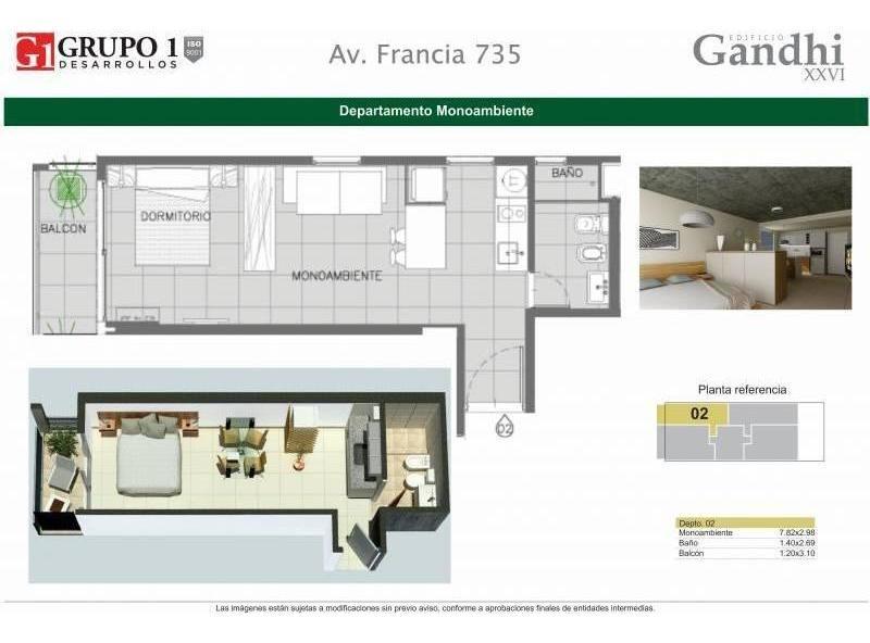 venta monoambiente en construcción - francia 700 rosario
