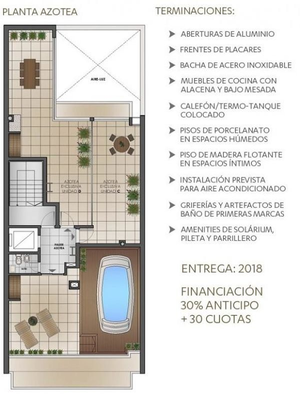 venta monoambiente - piscina - solarium - parrillero / pichincha