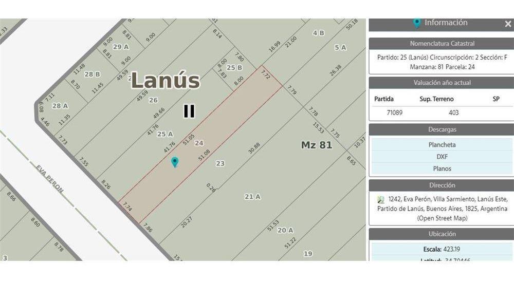 venta terreno 7,74 x 51,08 con local y 4 deptos.