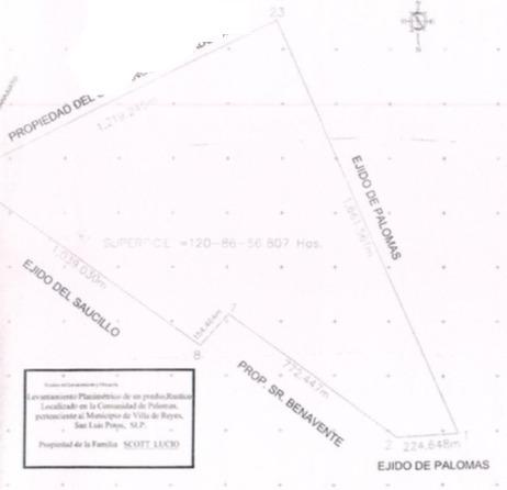 venta terreno en ejido palomares san luis potosí  120 has.