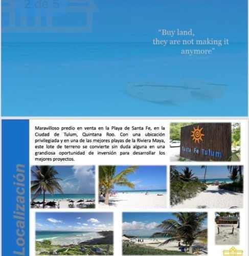 venta terreno playa santa fe.tulum