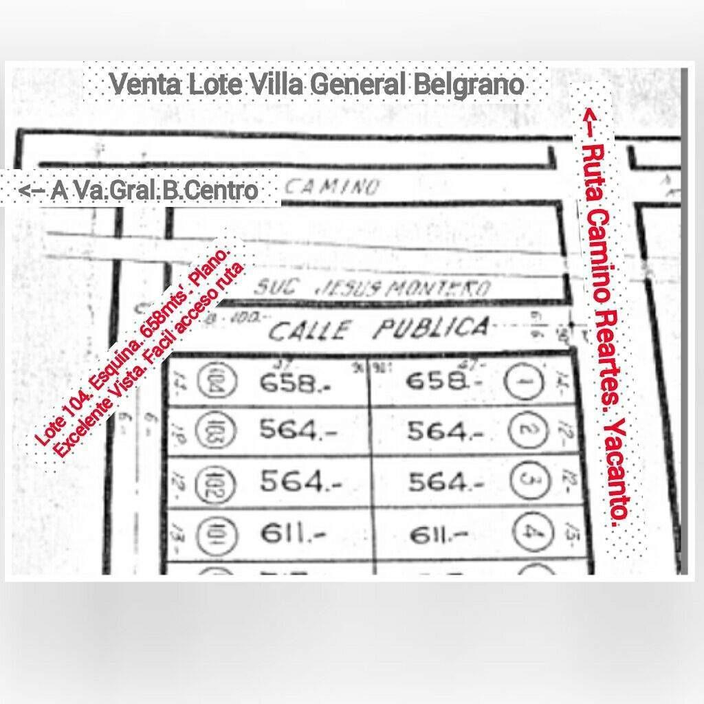 venta villa gral belgrano-para inversores-bloque 22 lotes-escritura