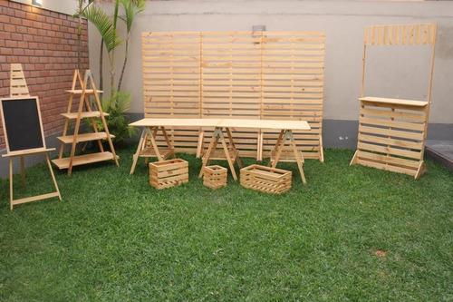 venta y alquier mobiliario de madera para eventos