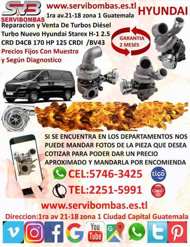 venta y reparacion de turbos hyundai santa fe 2.0 guatemala