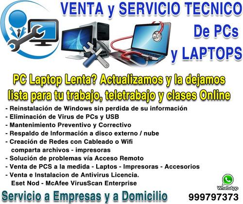 venta y servicio técnico de pc laptop, solución de problemas