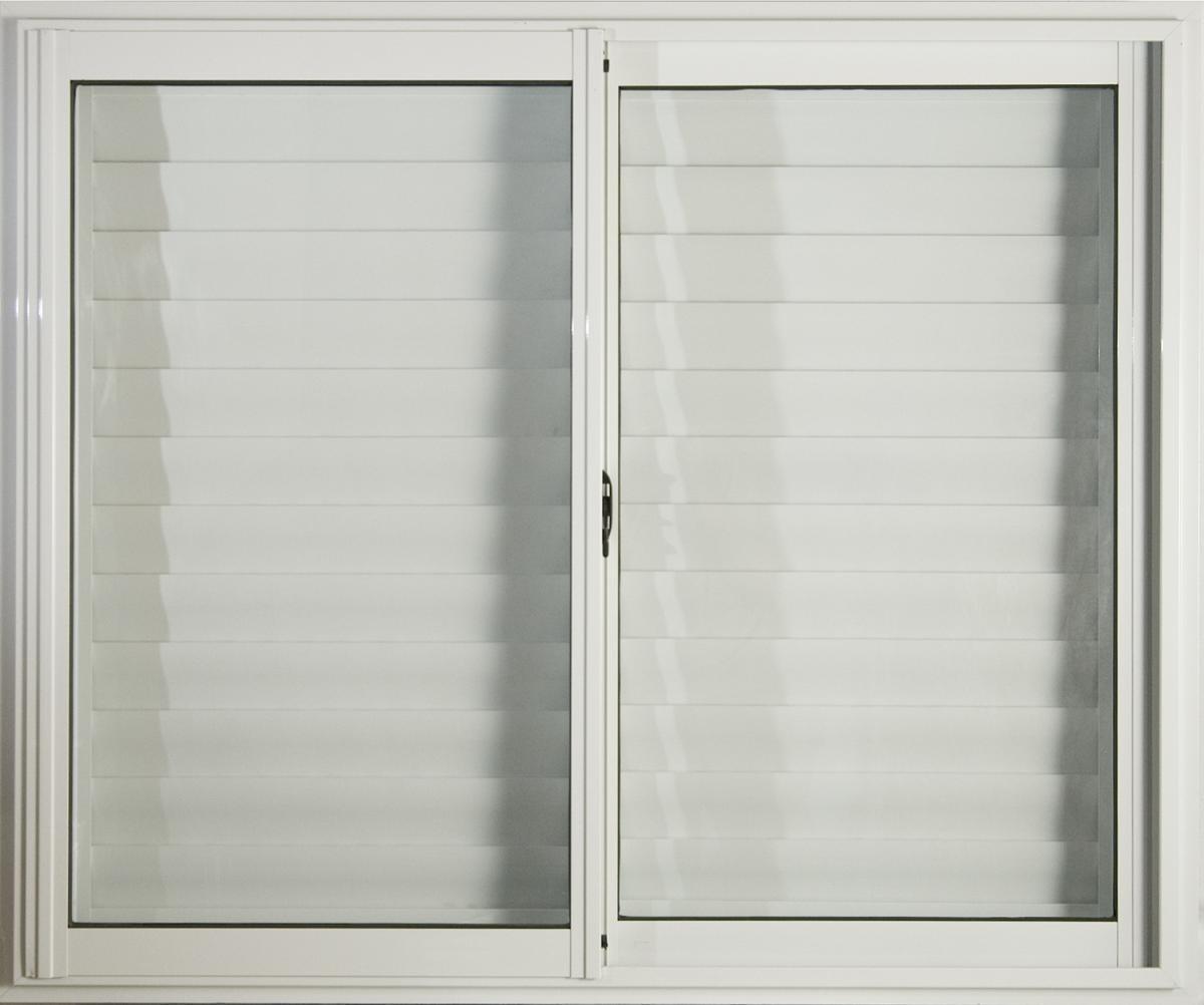 Ventana Aluminio Blanco 150x110 C/vidrios Y Postigo Celosía ...