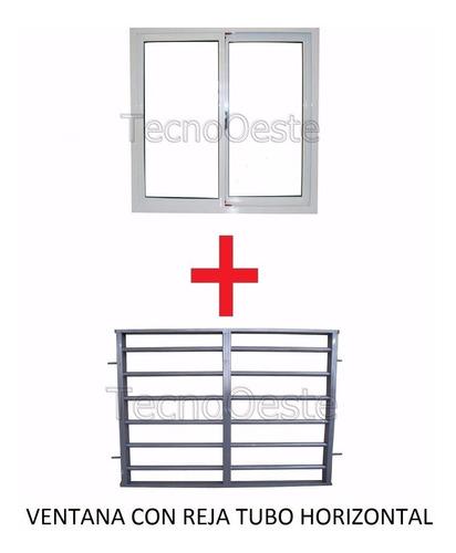 ventana aluminio blanco 150x150 cm + reja tubos horizontales