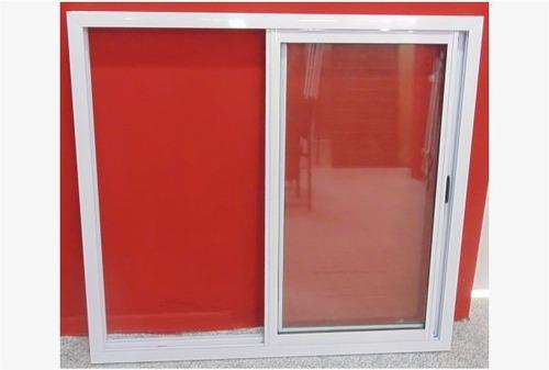 ventana aluminio blanco herrero vidrio entero 120x110