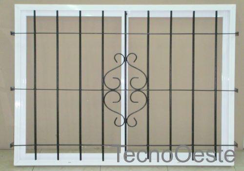 ventana aluminio blanco vidrio entero 150x110 c/ reja ø12