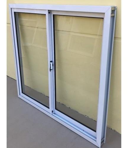 ventana aluminio blanco vidrio entero con vidrio 100x90