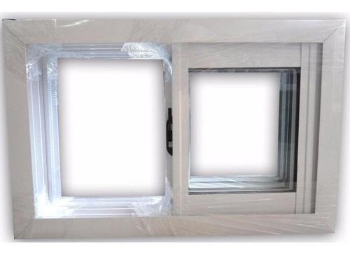 ventana aluminio blanco vidrio entero corrediza 60x40