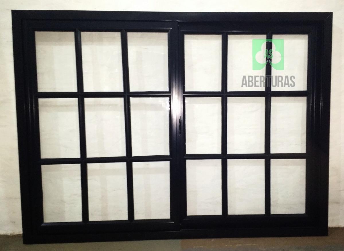 Ventana Aluminio Negro Repartido 4mm 120x110 - $ 2.920,00 en Mercado ...