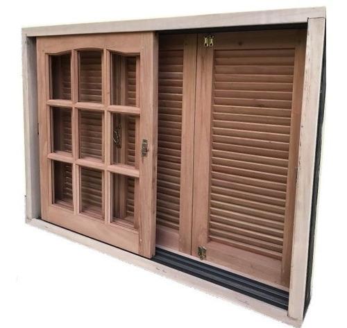ventana balcon madera cedro 150x200 v/repartido postigon