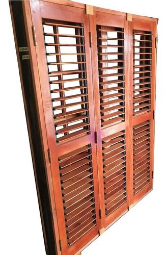 ventana balcon madera cedro postigon regulable 150x200