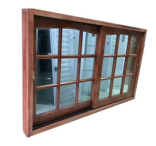 ventana balcon madera cedro v/ repartido 180x200 base barniz
