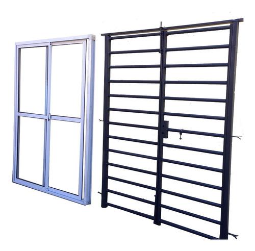ventana balcon vidrio entero con reja tubo de abrir reforzada con cerradura y pasador 150x200