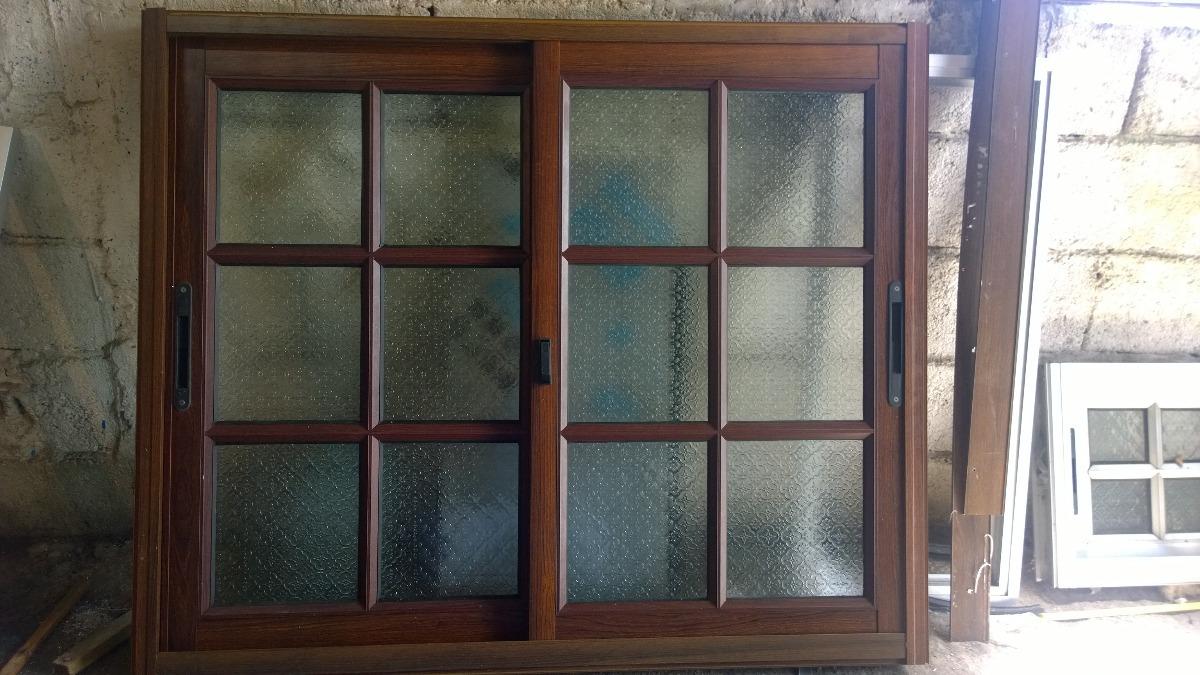 Ventana colonial color madera aluminio hasta 31 12 oferta for Colores ventanas aluminio lacado