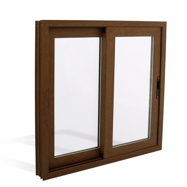 Ventana de aluminio 100x100 color madera 12 cuotas for Ventanas aluminio color titanio