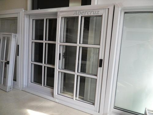 ventana de aluminio 120x110  vidrio repartido con vidrio