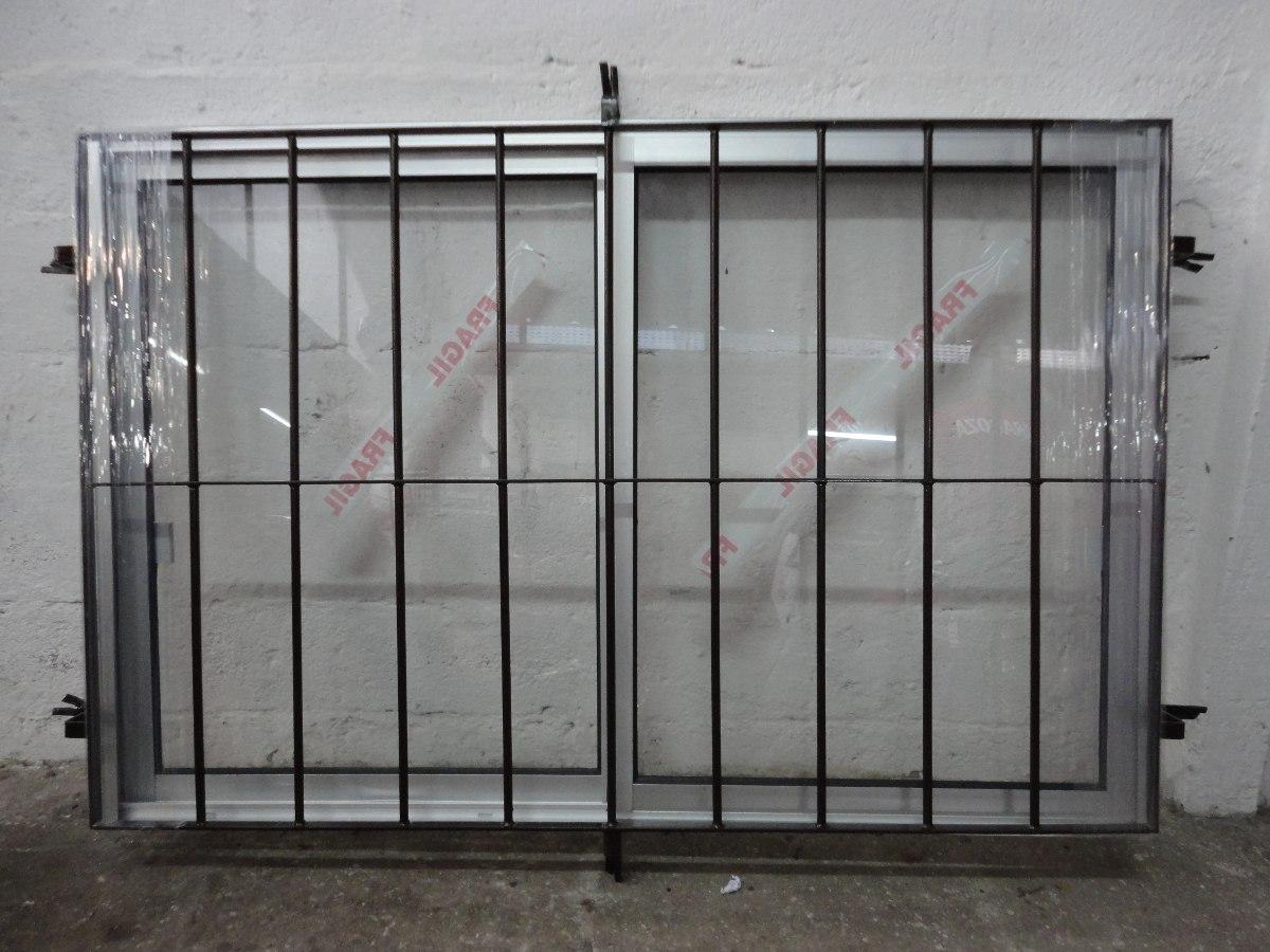Ventana de aluminio con reja incoorporada en for Precio de aluminio para ventanas
