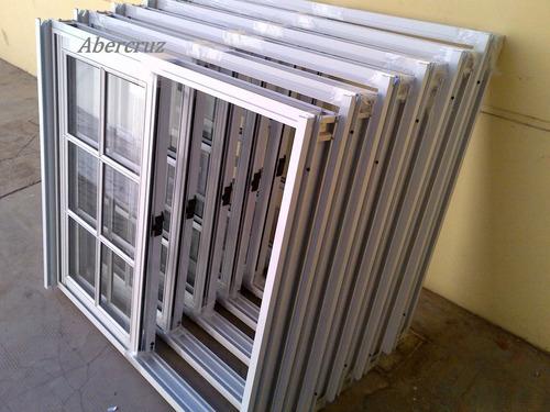 ventana, de aluminio, de 1.20x1.10  vidrio repartido