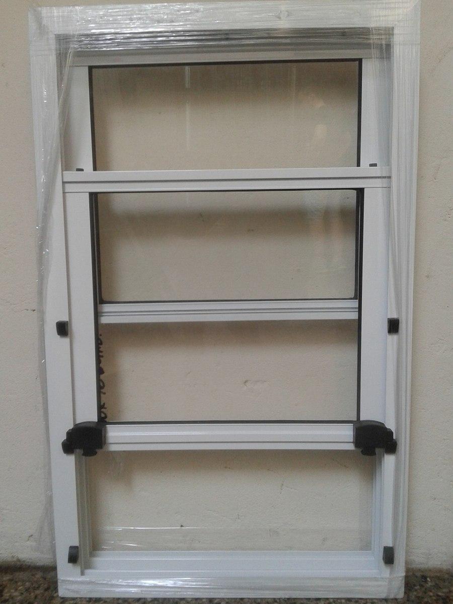 ventana guillotina aluminio blanco x aberturas leo