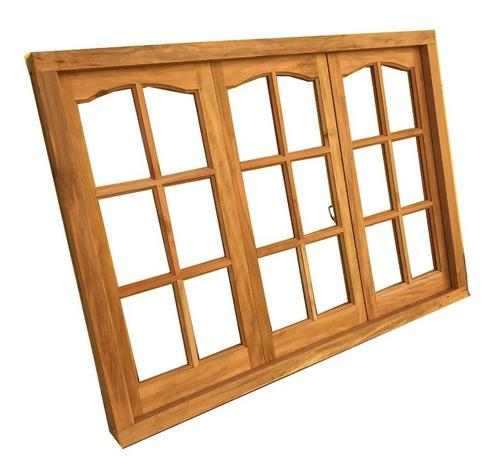 ventana madera cedro de abrir vidrio repartido 150x110