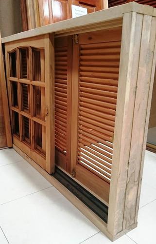 ventana madera cedro repartido postigo celosia abrir 180x110