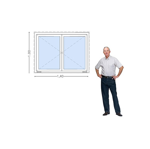 ventana pvc dvh 140 x 100 doble vidrio  batientes