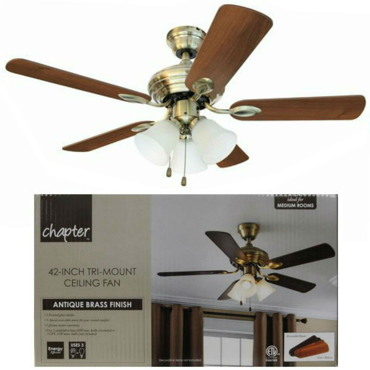42 Chapter Ceiling Fan Bowl Light Aged Brass | Mail Cabinet