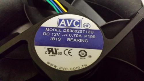 ventilador avc ds08025t12u dc12v 0.70a 4 polos