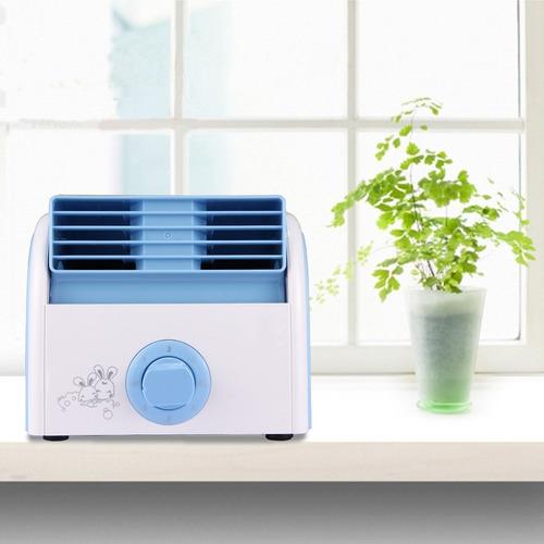 ventilador calentador sin turbina hoja mini escritorio azul