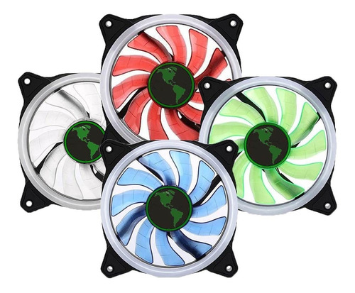 ventilador cooler luz led 12cm gamer gabinete unicolor
