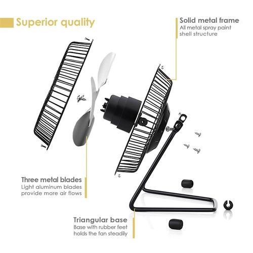 ventilador de mesa mini metal usb simbr - neg + envio gratis
