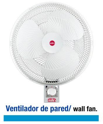 ventilador de pared 3 vel. 16  oscilatorio o fijo vwb-0016