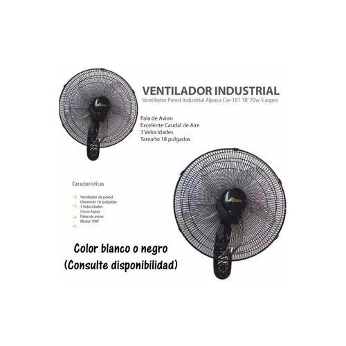 ventilador de pared alpaca 18´´ 46cm 70w cw 181 pintumm