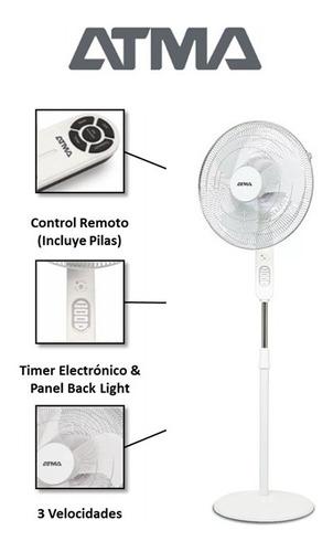 ventilador de pie 16'' 60w atma 3vel con control remoto