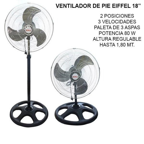 ventilador de pie eiffel turbo 18  nuevo garantía chapa