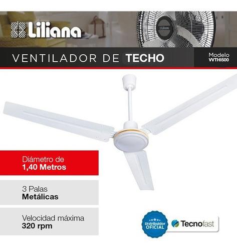 ventilador de techo liliana industrial 3 veloc aspas metal