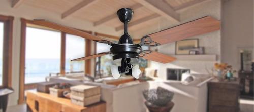 ventilador de techo martin aura negro madera con spot vidrio