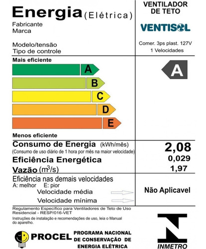 ventilador de techo negro con reversion ventisol - 130 watt