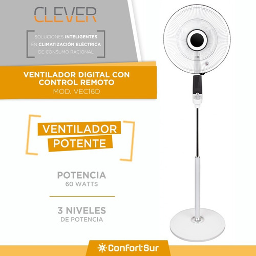 ventilador digital de pie clever 16  60w 3 niveles timer *12