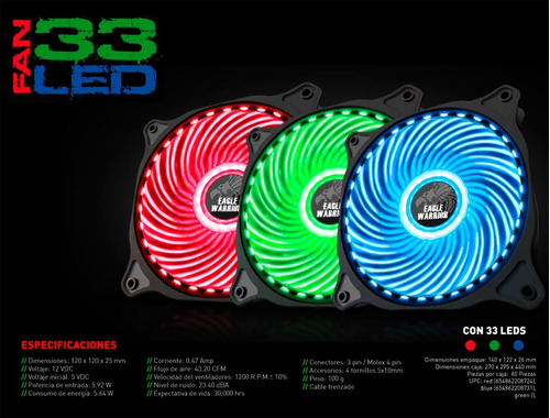 ventilador eagle warrior led verde 120mm acledfan33g03egw